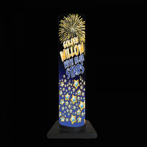 Golden Willow with Blue Stars